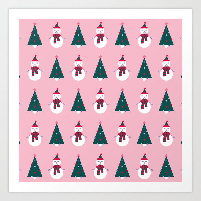 A Cute Christmas - Pink Art Print By D_hb Society6