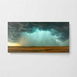 Open the Heavens - Panoramic Storm with Teal Hue in Northern Oklahoma Metal Print
