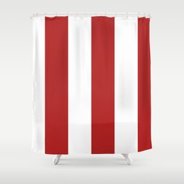 Wide Vertical Stripes - White and Firebrick Red Shower Curtain