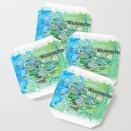 USA Washington State Illustrated Travel Poster Favorite Map Coaster