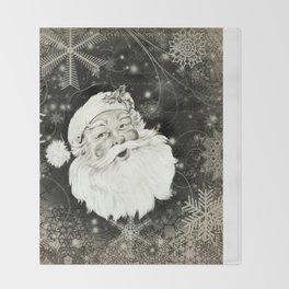 Vintage Santa Claus with snowflakes Throw Blanket