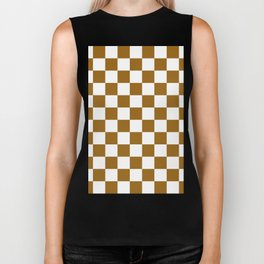 Checkered - White and Golden Brown Biker Tank