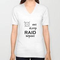 vikings V-neck T-shirts featuring eat-sleep-RAID-repeat black, Vikings by ZsaMo Design