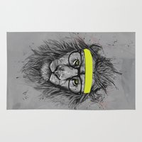 hipster Area & Throw Rugs featuring hipster lion by Balazs Solti
