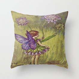 """""""The Scabious Fairy"""" by Cicely Mary Barker (1920) Throw Pillow"""