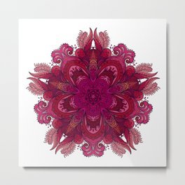 Pink Indian Mandala Metal Print