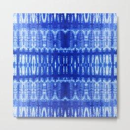 tie dye ancient resist-dyeing techniques Indigo blue textile abstract pattern Metal Print