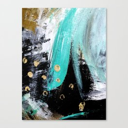 Fairy Dreams: an abstract mixed media piece in black, white, teal, and gold Canvas Print