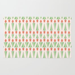 Seamless vector pattern of triangular topiary trees in terra cotta pots Rug