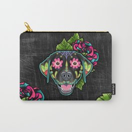 Labrador Retriever - Black Lab - Day of the Dead Sugar Skull Dog Carry-All Pouch
