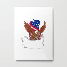 American Eagle Clutching Towing J Hook Flag Unfurled Drawing Metal Print