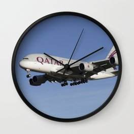 Qatar Airlines Airbus A380 Wall Clock