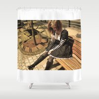 clockwork Shower Curtains featuring Clockwork lady by Catherine Mitchell