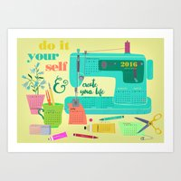 calender Art Prints featuring DIY-create your life-2016 Calender by Darling Planet Earth