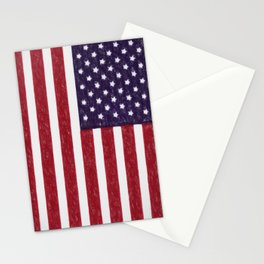 USA flag - in Crayon Stationery Cards