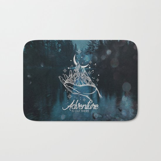 Adventure Is Out There Forest Lake Reflection Bath Mat