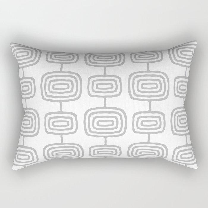 Mid Century Modern Atomic Rings Pattern Gray 3 Rectangular Pillow