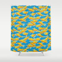 yellow submarine Shower Curtains featuring Yellow & Blue Submarine by thunalab