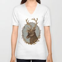 reindeer V-neck T-shirts featuring Reindeer by Sarah DC