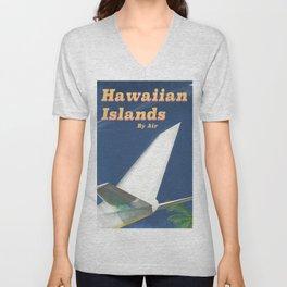 Hawaiian Islands vintage style travel poster Unisex V-Neck