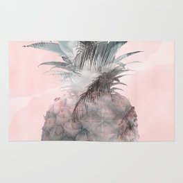 Pink Tropical Beachy Pineapple Rug