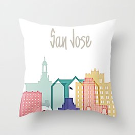 San Jose colorful skyline design Throw Pillow