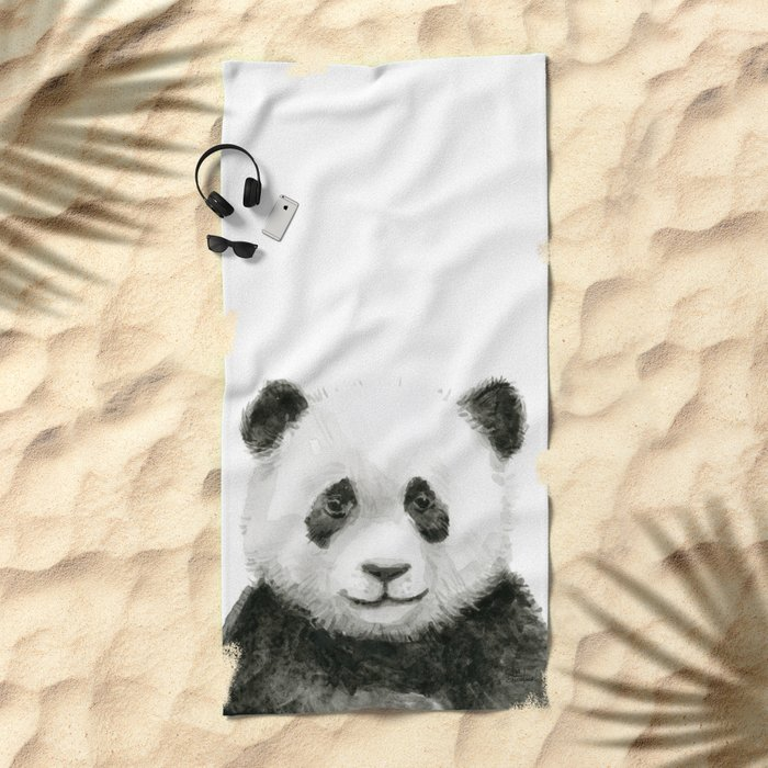 Baby Panda Whimsical Animal Watercolor Cute Baby Animals Beach Towel