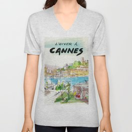 Winter In Cannes Unisex V-Neck