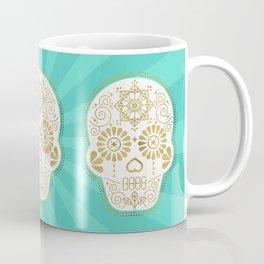 Día de Muertos Calavera • Mexican Sugar Skull – Turquoise & Gold Palette Coffee Mug