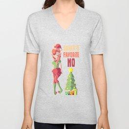 SANTA'S FAVORITE HO With Cute Christmas Elf Christmas Gift Unisex V-Neck