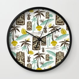 Island Tiki - White Wall Clock
