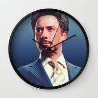 robert downey jr Wall Clocks featuring R. Downey Jr. **** by Hands in the Sky