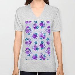 Pastel lilac violet hand painted watercolor floral geometric pattern Unisex V-Neck