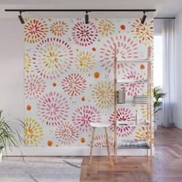 Abstract watercolor sparkles – yellow and orange Wall Mural