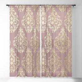 Burgundy rose gold elegant damasque Sheer Curtain