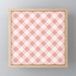 Diagonal buffalo check pale pink Framed Mini Art Print
