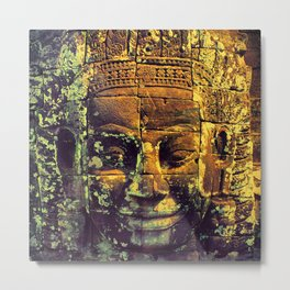 Cambodia Face Tample Trip View Metal Print