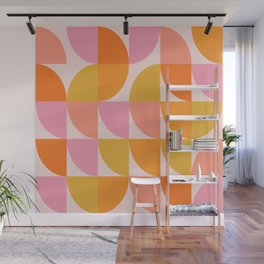 Mid Century Mod Geometry in Pink and Orange Wall Mural