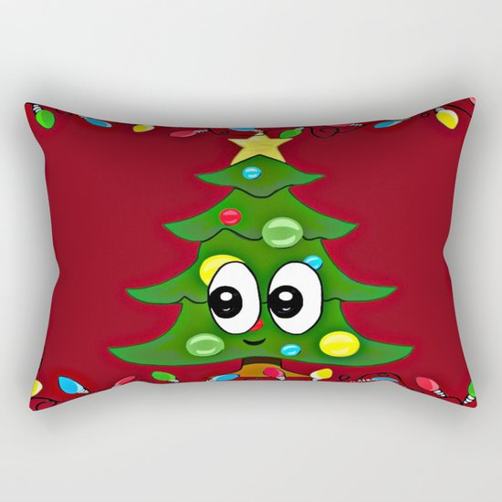 Emoji Christmas Tree Rectangular Pillow