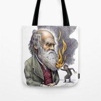 darwin Tote Bags featuring Darwin by ElenaTerrin