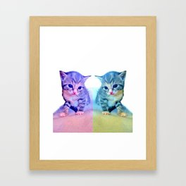 Cute Colorful Cat Couple Framed Art Print