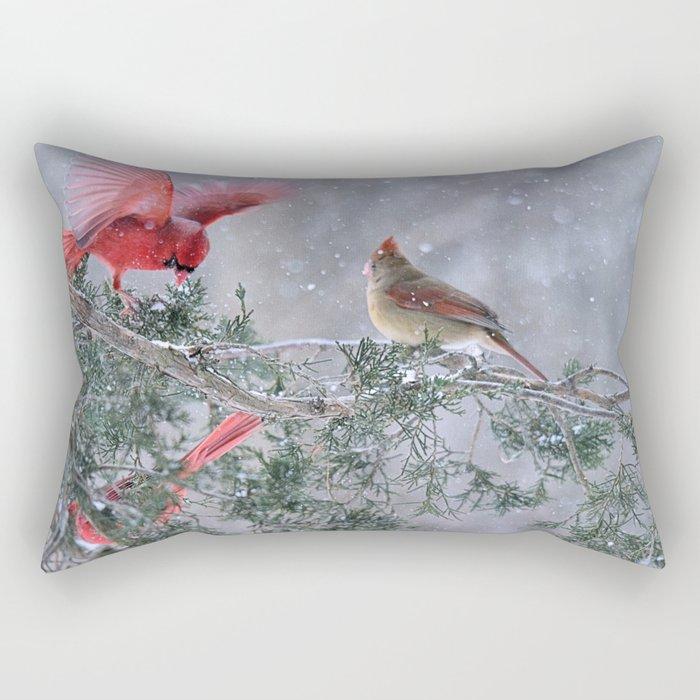 Cardinals Jostling on a Branch in a Snow Storm Rectangular Pillow