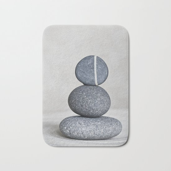 Zen cairn pebble stone balance grey Bath Mat
