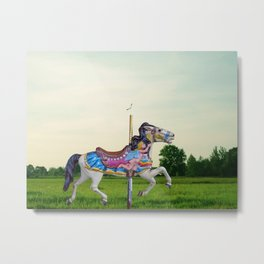 Wood horse Nature Metal Print