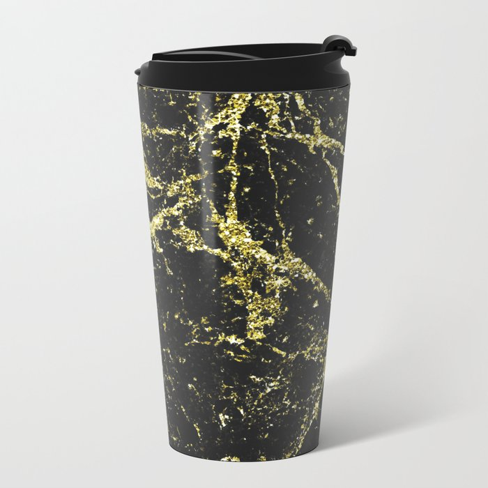 Black and Gold Marble Metal Travel Mug