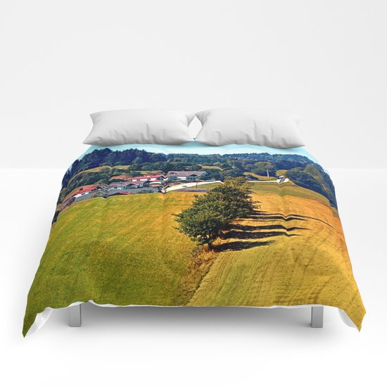 A village, some trees, and more boring scenery Comforters