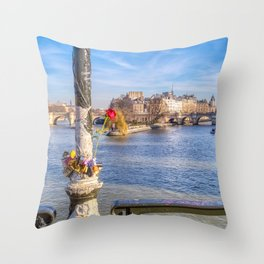 Pont des Arts on Valentine's day Throw Pillow