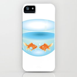 Two cute gold fishes in a fishbowl iPhone Case