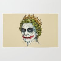 queen Area & Throw Rugs featuring God Save the Villain! by Enkel Dika