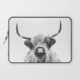 Black and White Highland Cow Portrait Laptop Sleeve